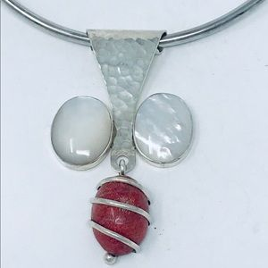 Jewelry - Red Coral and  Pearls Sterling Silver 925 Pendant